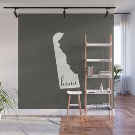 Delaware is Home - White on Charcoal Wall Mural