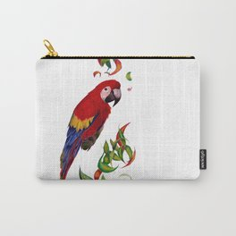 red parrot with rainbow leaves Carry-All Pouch