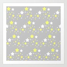 Yellow White Stars on Grey Gray Art Print