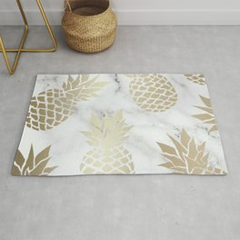 Prints of Hawaii, Pineapple Art with Marble, White and Gold Rug