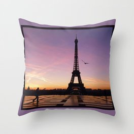 Eiffel Tower in a Pink Sunrise Throw Pillow