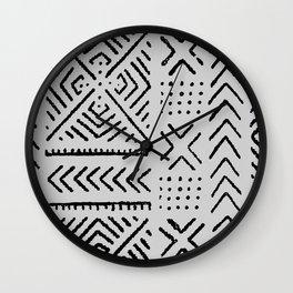 Line Mud Cloth // Light Grey Wall Clock