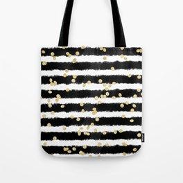 Modern black watercolor stripes chic gold confetti Tote Bag