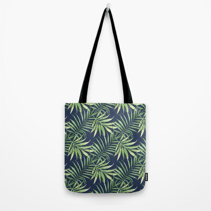 Tropical Branches on Dark Pattern 05 Tote Bag