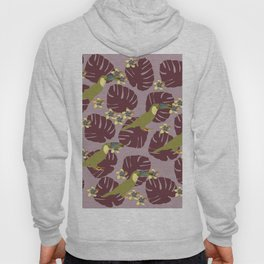 Colorful Monstera, Frangipani and Toucan Pattern QR Hoody