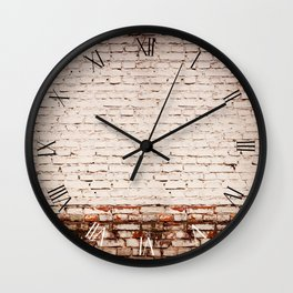 White bricks obsolete wall abstracts Wall Clock