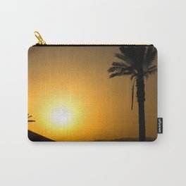 Golden Andalusian sunset with silhouette palm trees and mountain Carry-All Pouch