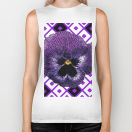 Purple & Black Pansy White Pattern Art Biker Tank