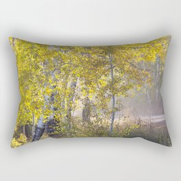 Mountain Road Through the Aspen Forest Rectangular Pillow