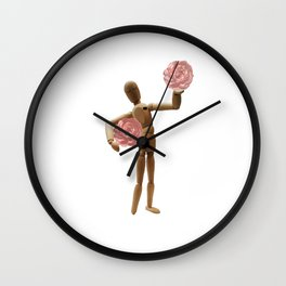 wooden mannequin in love Wall Clock