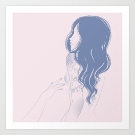 minimal line drawing of a nude girl with long hair and tattoos Art Print
