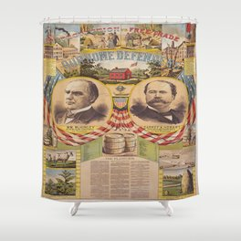 Mc. Kinley and Hobart Presidential Elections Vintage Poster 1896 Shower Curtain