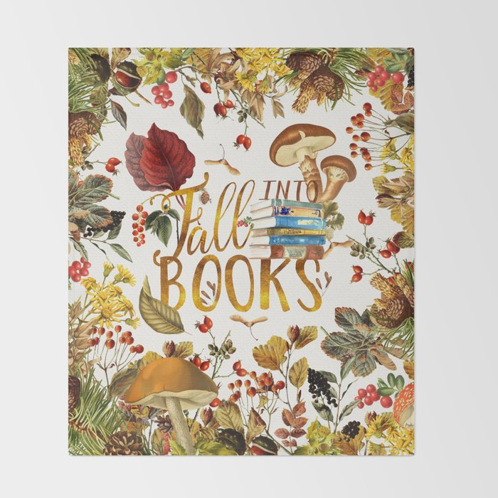Fall Into Books Throw Blanket