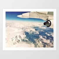 Clouds and Mountain Tops. Art Print
