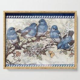 Vintage Blue Birds Serving Tray