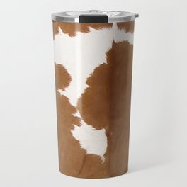 Tan and white cowhide texture Travel Mug