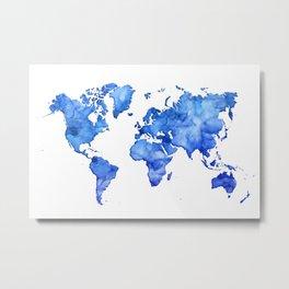 Cobalt blue watercolor world map Metal Print