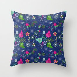 Cycledelic Blue Throw Pillow