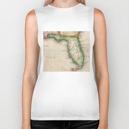 Vintage Map of Florida (1822) Biker Tank