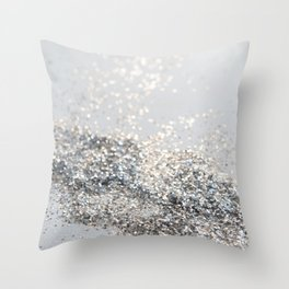 Silver Gray Glitter #2 #shiny #decor #art #society6 Throw Pillow