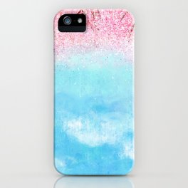 watercolor light blue sky pink glitters iPhone Case