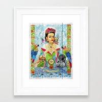 frida khalo Framed Art Prints featuring Frida Khalo by Rose Draft