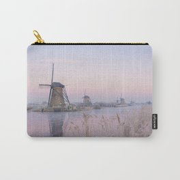 Pastel sunrise over windmills in winter in the Netherlands Carry-All Pouch