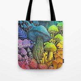 Rainbow Mushroom Composition #3 | Watercolor Illustration Tote Bag