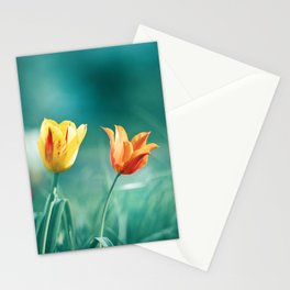 Teal Orange Nature Photography, Turquoise Yellow Tulips Photo, Aqua Teal Green Flower Art Print Stationery Cards
