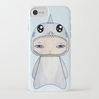 tintin iPhone & iPod Cases featuring A Boy - Shark by Christophe Chiozzi