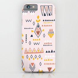 Vintage ethnic elements hand drawn on pastel background illustration pattern iPhone Case