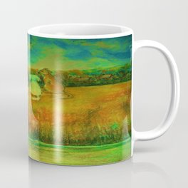 Dogs on hill side water view Coffee Mug