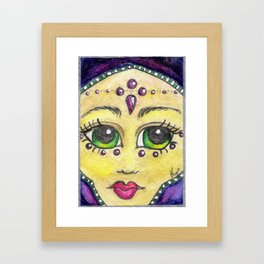Emerald eyed Habiba in Amethyst Framed Art Print