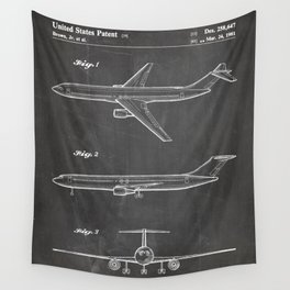 Boeing 777 Airliner Patent - 777 Airplane Art - Black Chalkboard Wall Tapestry