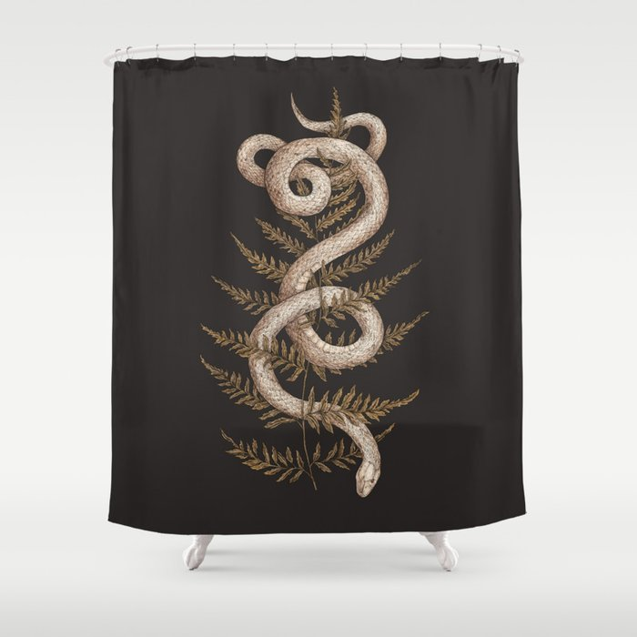 The Snake and Fern Shower Curtain by jessicaroux | Society6