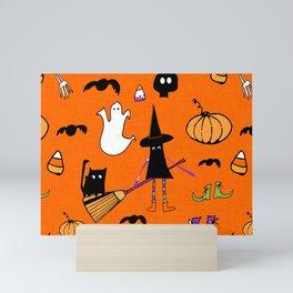Cute #Halloween Witch and Friends Orange Mini Art Print
