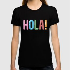 Hola! Black SMALL Womens Fitted Tee