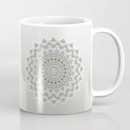 Mandala Flowers Grey Green Coffee Mug