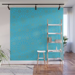 Moroccan Nights - Gold Teal Mandala Pattern - Mix & Match with Simplicity of Life Wall Mural