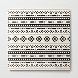Aztec Black on Cream Mixed Motifs Pattern Metal Print