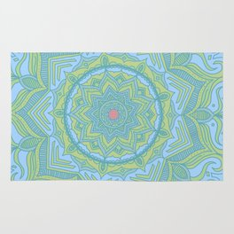 Blue and Green Flower Mandala Rug