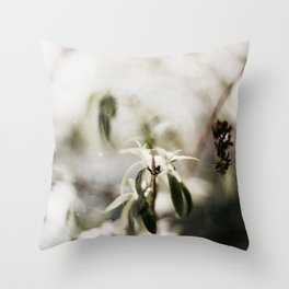Dutch winter leafs in the snow | outdoor photography Throw Pillow