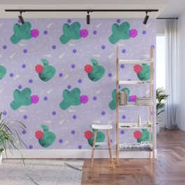 Hello Cactus Lavender Background Wall Mural