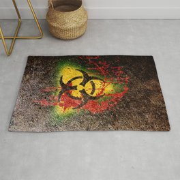 Bio-hazard Contagion Zombie Apocalypse Blood Splatter Graffiti Rug