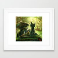 hiccup Framed Art Prints featuring Hiccup and Toothless by PuppyChowArts