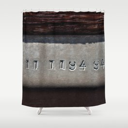 Hammered Serial Number In Metal Plate Shower Curtain