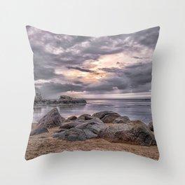 Cloudy beach sunset Throw Pillow