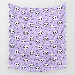 Cute Skulls // Purple Wall Tapestry