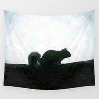 squirrel Wall Tapestries featuring Squirrel by Geni