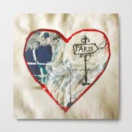 Paris Roadmap of Love Metal Print